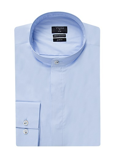 TWN Slim Fit Düz Gömlek Mavi